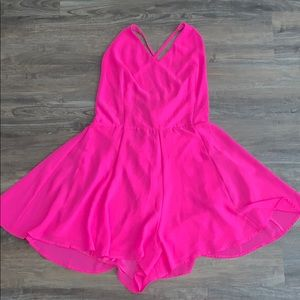 Hot Pink Romper with Crisscrossing Tie up the Back